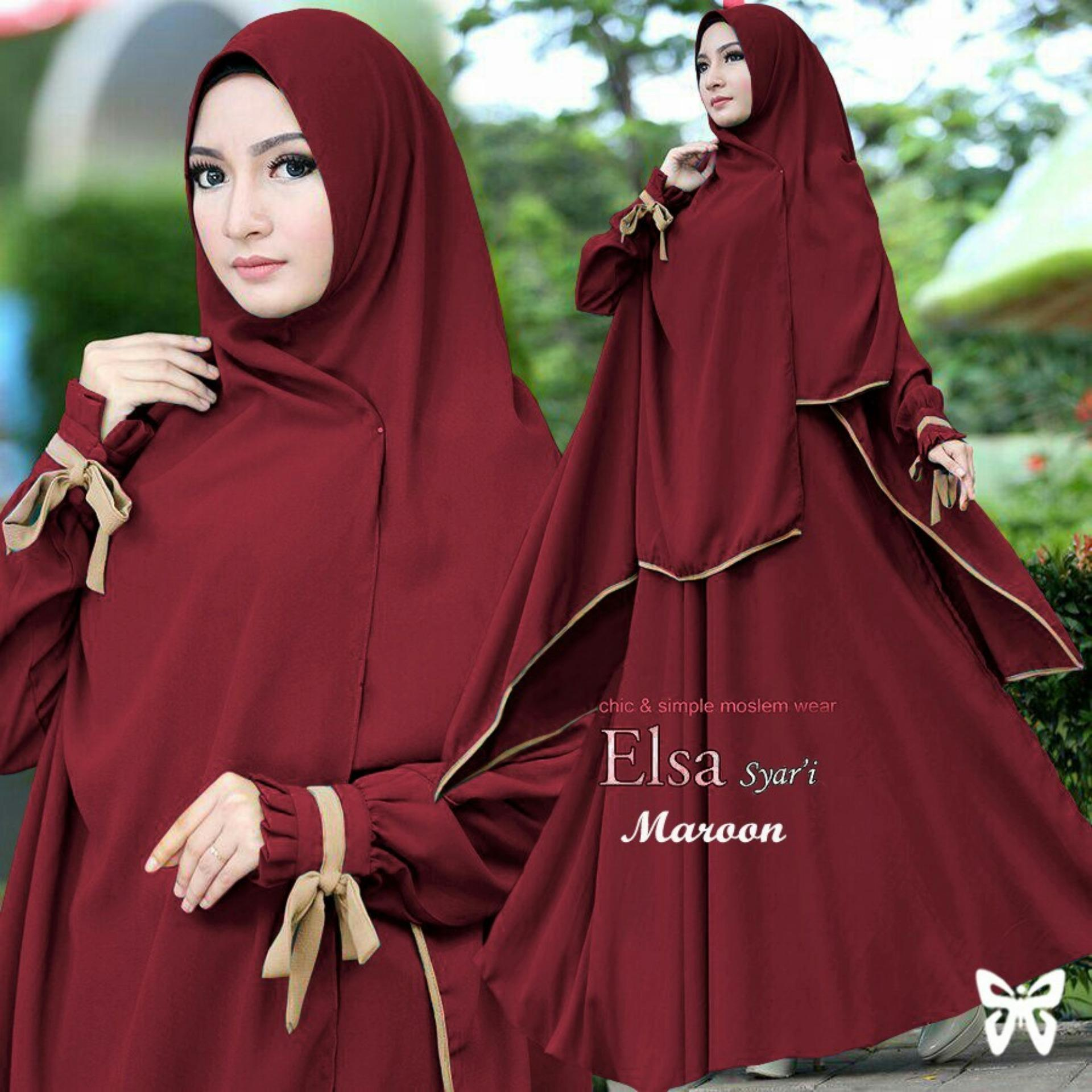 hijab   baju hijab muslim kayra / gamis syari syari fashion maxi / dress maxi / gaun muslimah free pasminah / baju muslim 2 in 1 (sael) ss – merah maroon