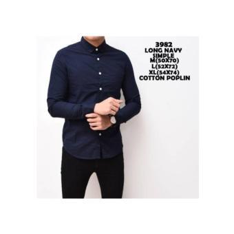 Baju Kemeja Polos Navy Katun Slimfit kerja kantor murah Pria