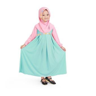 Fitur Gamis Baju Muslim Anak Perempuan Jersey Peach Mint Mjs01 Dan