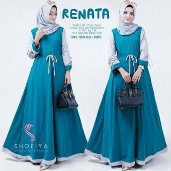 BAJU MUSLIM MURAH RENATTA DRESS TOSCA BLUE / BAJU MURAH / GAMIS MUSLIM / GAMIS BARU / LONG DRESS