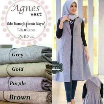 Baju Original Cardigan Agnes Vest Long Cardigan Baju Atasan Wanita Hijab Modern Modis Trendy Warna Brown
