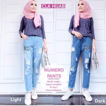 Baju Original Numero Pants Jeans Celana Panjang Wanita Muslim Bawahan Cewek Hijab WarnaDark