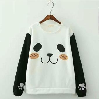 Baju Original Roundhand Panda Sweater Babyterry Muslimah Hangat Zipper Hoodie Casual Jacket Atasan Wanita