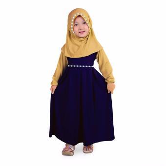 Baju Yuli Gamis Anak Perempuan Jersey Motif Bunga - Navy Cream