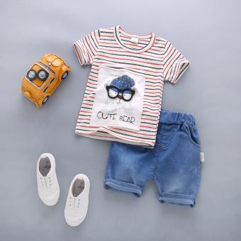 Setelan Bayi Balita Lengan Pendek Celana (Musim panas kacamata kepala lengan pendek set [Hong]) (Musim panas kacamata kepala lengan pendek set [Hong])