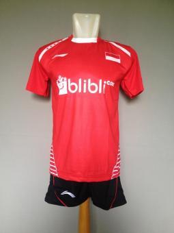 BARU BAJU Celana Olahraga Kaos Setelan Badminton Jersey Bulutangkis Lining L30 Red