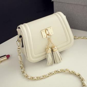 Tas Selempang Wanita Dengan Tassel Gaya Korea Jepang (Rumbai mini kecil tas putih) (