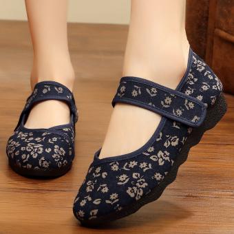 Sepatu Kain Wanita Sol Lunak Longgar (Model Wanita + 2059 Biru) (Model Wanita