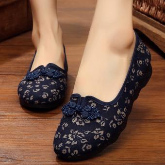 Sepatu Kain Wanita Sol Lunak Longgar (Model Wanita + 3058-1 Biru) (