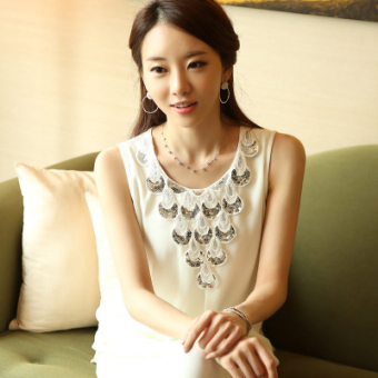 Baru Korea Gaya Busana Baju Atasan Wanita (1005 Putih)