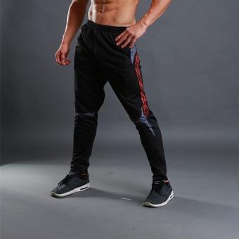 Basket joging kasual celana kaki kebugaran celana (Hitam dan merah)