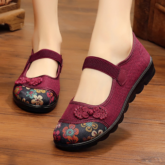 Sepatu Flat Setengah Baya Musim Panas Sepatu Kain Beijing Oldish Orang Tua 5bc725830f