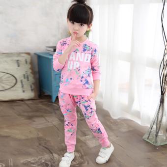 Besar Korea Fashion Style Katun Model Musim Semi Dan Musim Gugur Anak-anak Gadis Set