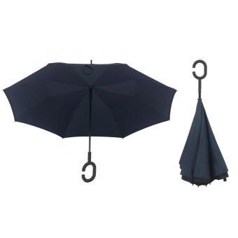 Best CT Unique Inside-Out Umbrella With C-Hook Handle- Dark Blue