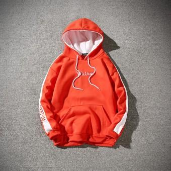 Sweater Hoodie Pria Tambah Beludru Versi Korea (Oranye Huruf Berkerudung Kaos Sweater) (Oranye