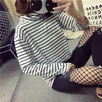 Jingnimeng Kaos Wanita Trendi Motif Salur Lengan Panjang Banyak Model (Putih [8001 kerah tinggi