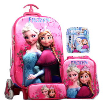 BGC Disney Frozen Elsa Anna Crown 2 Koper Set Troley T + Lunch Box + Kotak