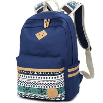 Biru Ransel Wanita Etnis untuk Remaja Sekolah Gadis Wanita Cantik Tas Sekolah Ladies Canvas Backpack Wanita