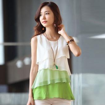 Wanita Chiffon Sheer Kaus Kerah Bulat Tanpa Lengan Tops Blus Pullover Multilayer Rompi (Hijau)