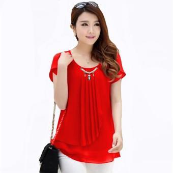 Blus - Atasan Wanita - Korean Style Blus With Pearl Necklace Short Sleeve