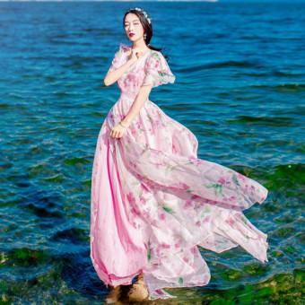 Bohemia lengan model fei-fei Floral Sifon gaun musim panas murid membentuk tubuh Terlihat Langsing