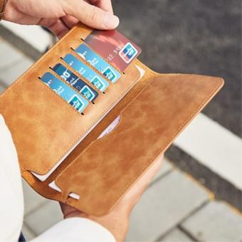 Bostanten retro kulit yang lembut pria tipis pria bagian panjang Wallet paket kartu (Khaki)