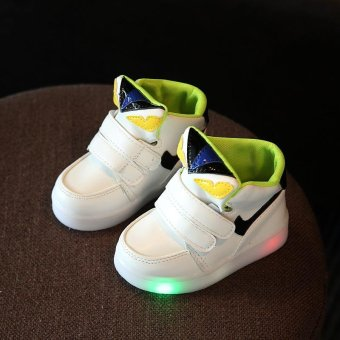 Boys and girls small monster fashion LED casual sports shoes(White)- intl