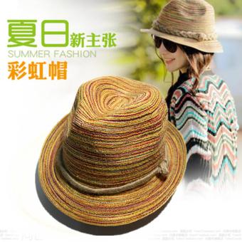 Topi Korea Fashion Style Tujuh Warna Topi Pantai Musim Panas Wanita  (Pelangi topi) dffa0466fc