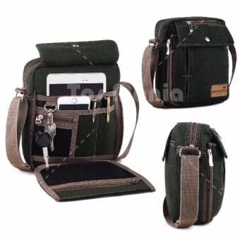 Tas Selempang Braun Fox Canvas Pria Multifunction Messenger Shoulder Bag - Dark Green Tas Pria Tas