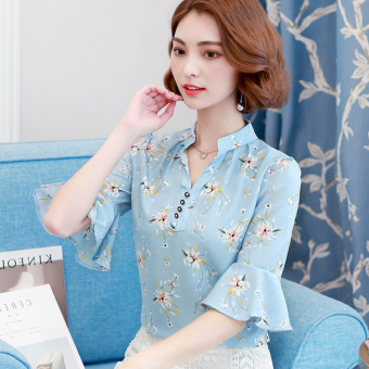 Atasan Korea Fashion Style Baru Lengan Pendek Kemeja Bunga
