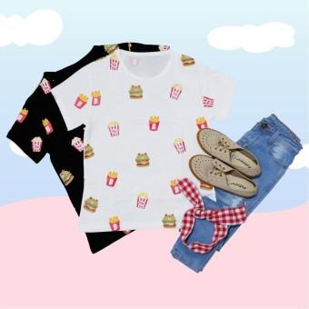 Burger Line Paper # ECL2709 T-shirt Wanita / Kaos Cewek / Tumblr Tee Cewek