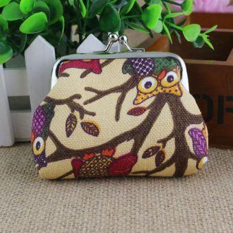 Burung hantu kartun kanvas wanita anak-anak koin tas lucu tas kecil (Khaki)