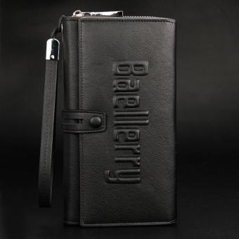 BYT Baellery Long Men's Leather Wallet Bag with Hand Strap & Zipper Coin Purse Baellery-