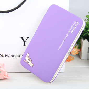 BYT Pidanlu Lady's Lovely Korean Style Faux Leather Long Women Leather Cell Phone Case Wallet Wristlets Hand Bag N1311 ( Purple ) - intl