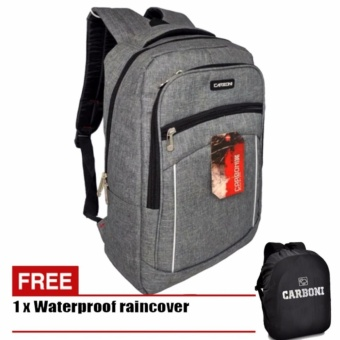 Carboni Backpack Tas Ransel Laptop Casual Trendy MA00057 15 - Grey +Raincover