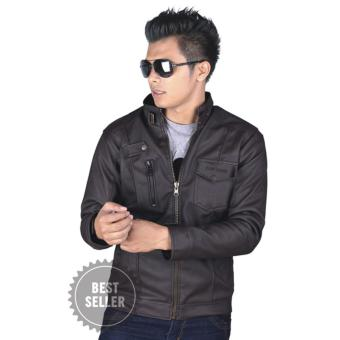 Catenzo Jaket Kulit Pria Original - Karlit Men Jacket - Dark Brown