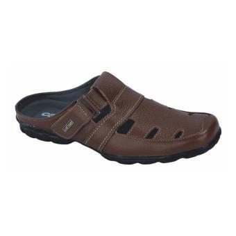 Catenzo Sandal Kulit Sepatu Bustong Pria - Brown