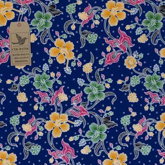 Cek Batik - Kain Batik Motif Bunga Warna Dasar Biru