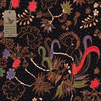 Cek Batik - Kain Batik Motif Tulis Burung Unik (Hitam Manis)