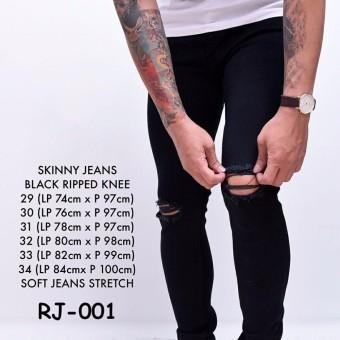Celana Jeans Ripped/Sobek Lutut Pria Black Sobek