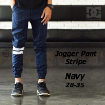 Celana Jogger Pants Strip Navy Biru Dongker Bestseller - A5bed3