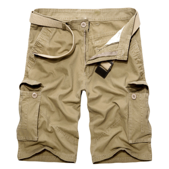 Longgar Kasual Ukuran Besar Lima Celana Pants Kamuflase Celana Pendek Pria (Khaki) (Khaki