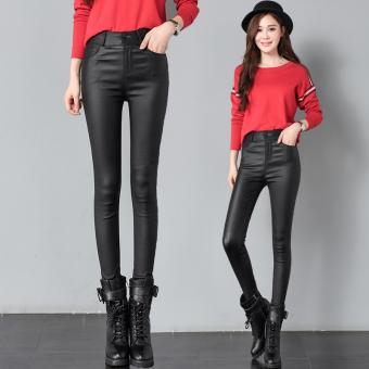 Celana Panjang Ketat Wanita Warna Hitam Kulit Pinggang Tinggi Versi Korea (Hitam)