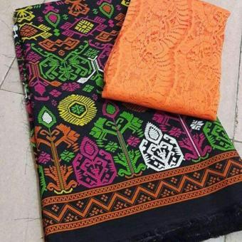 Cherry Kebaya Bali set kain satin songket lillin hitam dan atasan brokat sofia orange Kc3078