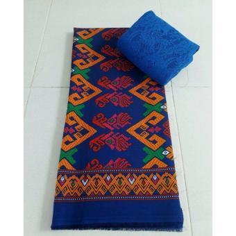Cherry- Set kain satin bali murah songket bisma biru dan brokat biru lembaran - biru