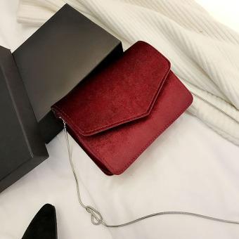 Chic Korea Fashion Style Beludru Tas Tali Rantai Tas Selempang Tas Wanita  (Merah) 3a0f77c49f