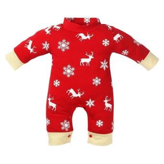 Natal Bayi Baru Lahir Romper Lengan Panjang Merah Kepingan Salju Rusa Cetak Jumpsuit-Intl
