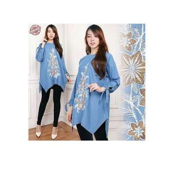 Cj collection Atasan blouse kemeja tunik jeans wanita jumbo long tunik shirt Nina