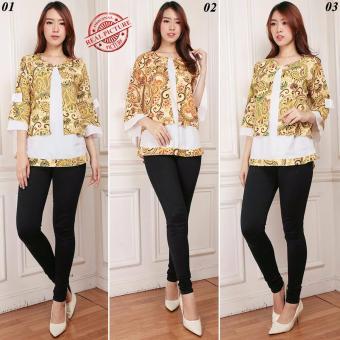 Cj collection Atasan blouse kemeja wanita jumbo blus shirt Rosita - 01