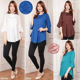 Cj collection Atasan blouse kemeja wanita jumbo Rosali - white